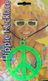 Peace Sign Hippie Necklace Green
