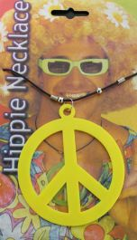 Peace Sign Hippie Necklace Neon Yellow