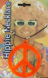 Peace Sign Hippie Necklace Orange