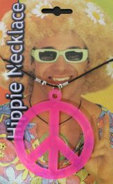 Peace Sign Hippie Necklace Pink
