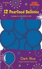 Dark Blue Pearlised Balloons (Pack of 12)