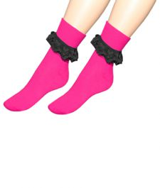 Pink & Black Ankle Lace Socks (12 Pairs)
