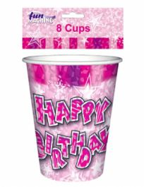 Pink Birthday Glam Cups (Pack of 8)