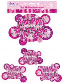 Pink Birthday Glam Mobile Decoration (Pack of 3)