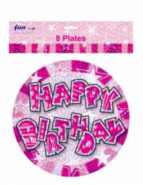 Pink Birthday Glam Plates (Pack of 8)