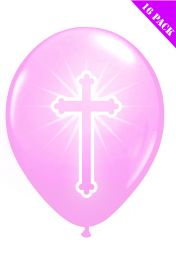Pink Cross Balloons (Pack of 16)