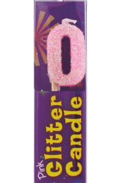 Pink Glitter 0 Digit Candle (Pack of 12)