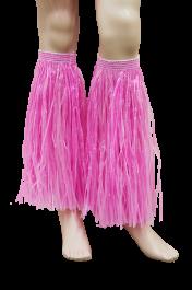 Pink Hawaiian Hula Straw Leg Cuffs