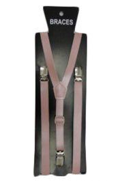 Pink PVC Plain Braces 1.5 cm