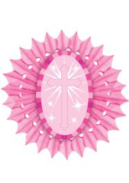 Pink Paper Fan With Cross