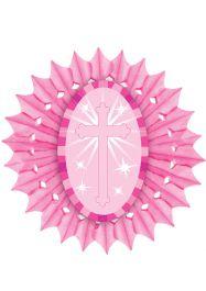Pink Paper Fan With Cross