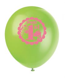 Pink Safari 1st Birthday Balloons 12 Inches (Pack of 8)
