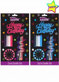 Pink and Blue Birthday Curly Candle Set