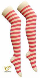 Pink White OTK Stripe Socks (12 Pairs)
