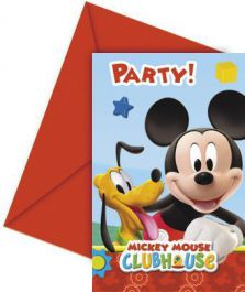 Playful Mickey Invites & Envelop (Pack of 6)