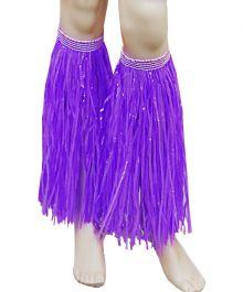 Purple Hawaiian Hula Straw Leg Cuffs