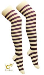 Purple White Stripe OTK Socks (12 Pairs)