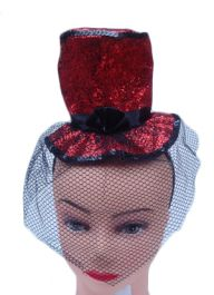 Red Fascinator Hat with Alice Band