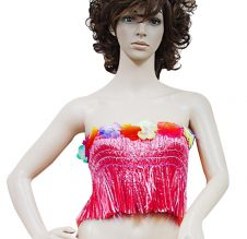 Red Hawaiian Hula Straw Bra