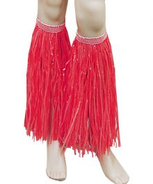 Red Hawaiian Hula Straw Leg Cuffs