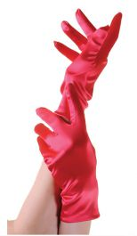 Red Satin Short Gloves