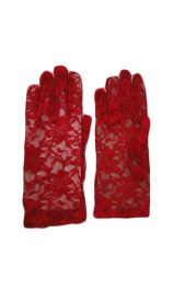 Red Wedding Short Lace Gloves