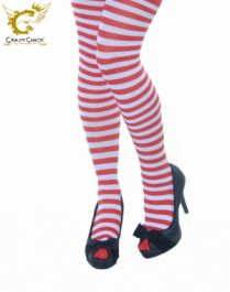 Ladies Red and White Stripe Tights