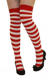 Red White Stripe OTK Socks (12 Pairs)