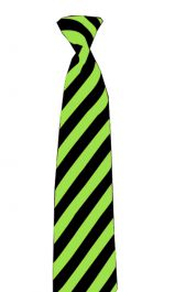 Satin Black Green Striped Neck Tie
