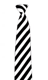 Satin Black/White Striped Tie