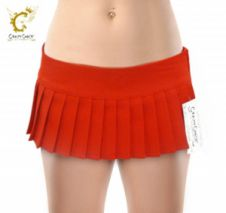 Sexy Plain Red Mini Pleated Skirt