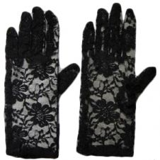 Short Lace Gloves Black