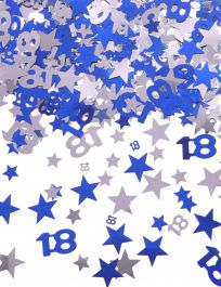 Silver Blue Star Confetti (Aged 18)