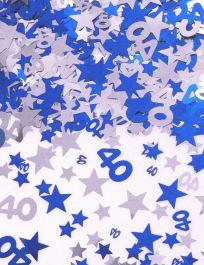 Silver Blue Star Confetti (Aged 40)