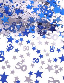 Silver Blue Star Confetti (Aged 50)