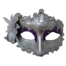 Silver Face Mask with Flower