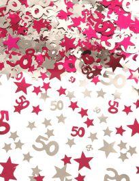 Silver Pink Star Confetti (Aged 50)