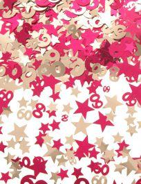 Silver Pink Star Confetti (Aged 60)