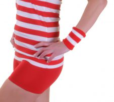 Stripe Wrist Band Red And White (12 Pcs )