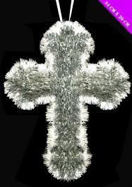 Tinsel Cross Silver & White