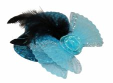 Turquoise Sequin Fascinator With Feather