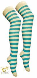 Turquoise White OTK Stripe Socks (12 Pairs)