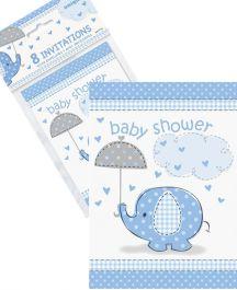 UmbrellaPhants Blue Invites (Pack of 8)
