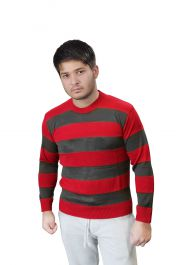 Unisex Red & Grey Stripe Knitted Jumper