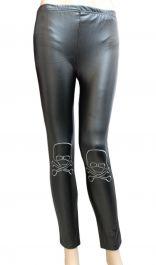 Shiny Metallic Black Leggings with Skull Bones