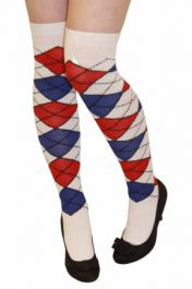 White Blue And Red Argyle OTK Socks (12 Pairs)