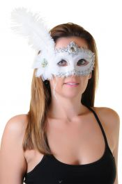White Face Mask with Feather & Ribbon