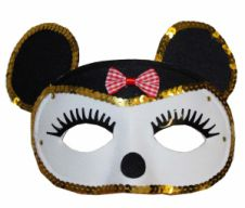 White Mouse Eye Mask with Gold Sequin