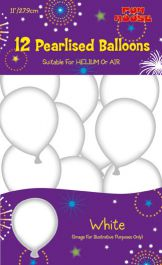 White Pearlised Balloons (Pack of 12)