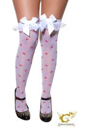 White Stockings with printed heart & White Bow